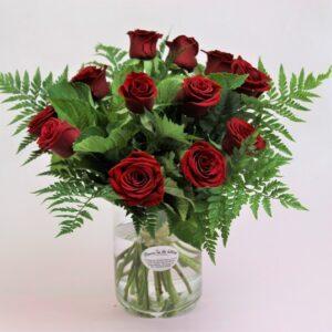 1 Doz Roses in a glass Vase