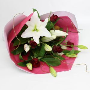 Stunning red rose and white lily Bouquet