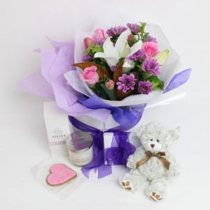 small posy, heart chocolate, body product, candle