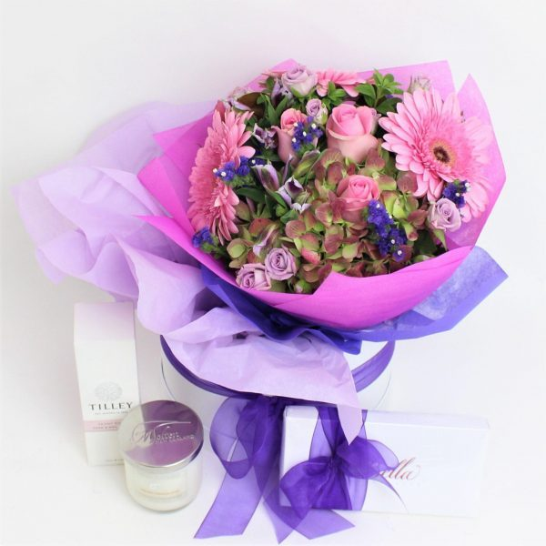 large posy, chocolate, candle, body product