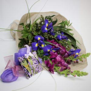 Iris, snapdragon and flowering manuka, wild winter, lush bright spring with lavender soap and fabric lavender pouch