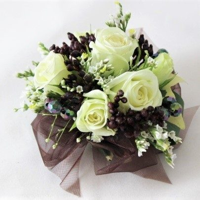 White Rose with black berries and brown ribbon and Jet accents
