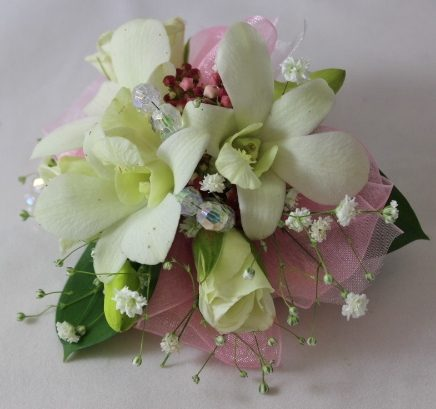 Corsage with White mini roses and white mini orchids